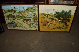 TWO EMBROIDERED RURAL SCENES IN WOODEN FRAMES