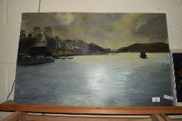 PAINTING OF A RIVER SCENE ON BOARD