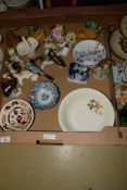 BOX CONTAINING MAINLY CERAMIC ITEMS INCLUDING QUANTITY OF CONTINENTAL PORCELAIN BIRDS MADE BY GOEBEL