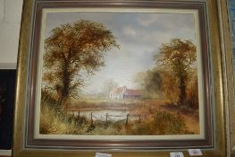 MODERN PICTURE OF A RURAL SCENE IN GILT FRAME