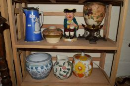 FURNIVALS CERAMIC OIL LAMP WITH METAL MOUNTS, A TOBY JUG AND A 19TH CENTURY JUG WITH CLASSICAL