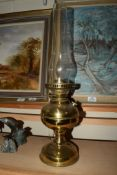 BRASS OIL LAMP AND SHADE