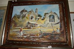 PICTURE OF A CONTINENTAL SCENE, SIGNED VARGAS, OIL ON CANVAS IN GILT FRAME