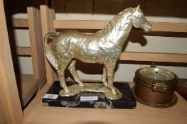 METAL MODEL OF A HORSE ON BLACK ONYX PLINTH