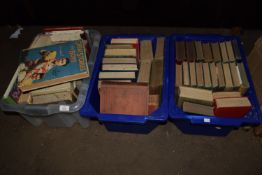 THREE BOXES OF BOOKS, MAINLY HARDBACK, VARIOUS TITLES INCLUDING HUTCHINSONS BOYS ANNUAL ETC