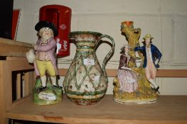 STAFFORDSHIRE GROUP OF FIGURES BY A TREE, FURTHER STAFFORDSHIRE OF JOLLY TOBY AND AN ITALIAN POTTERY