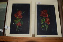 TWO PICTURES OF ROSES ON BLACK GROUND WITHIN WHITE FRAMES