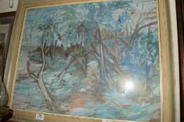 PICTURE OF A WOODEN LANDSCAPE UNDER GLASS