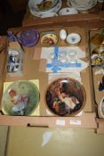 BOX CONTAINING CERAMICS AND GLASS WARES INCLUDING TWO AYNSLEY PIN DISHES DECORATED WITH FRUIT AND