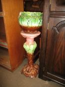 POTTERY TWO-TIER JARDINIERE STAND