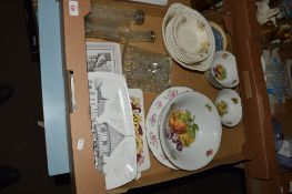 CERAMIC ITEMS MAINLY WITH PRINTED FRUIT DECORATION
