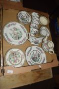 CROWN DUCAL INDIAN TREE TEA WARES INCLUDING TEA POT, CUPS AND SAUCERS, SUGAR BOWL AND SANDWICH PLATE