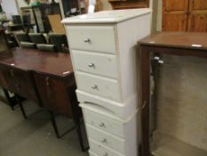 PAIR OF WHITE PAINTED BEDSIDE CABINETS, 44CM WIDE