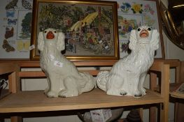 LARGE PAIR OF STAFFORDSHIRE DOGS