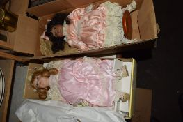BOX CONTAINING A MODEL OF A VICTORIAN DOLL MADE BY ANDREW SCHOFIELD