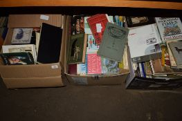 THREE BOXES OF HARDBACK AND PAPERBACK BOOKS, VARIOUS TITLES, HISTORIAL INTEREST ETC