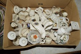 BOX CONTAINING QUANTITY OF CRESTED WARES BY W H GOSS, CARLTON AND WILLOW CHINA