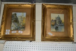 TWO PICTURES OF VENETIAN SCENES WITH GONDOLAS, IN GILT FRAMES