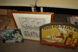 EMBROIDERY IN WOODEN FRAME AND TWO FURTHER PICTURES