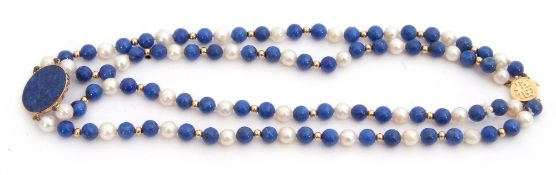 A 14K stamped lapis lazuli and pearl necklace/choker a double row with small lapis and cultured