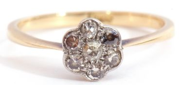 Small diamond cluster ring featuring seven small diamonds in a flowerhead design with millegrain