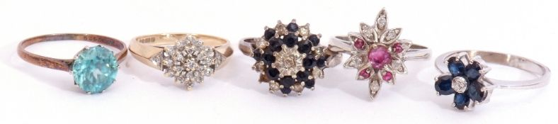 Mixed Lot: five stone set rings, two stamped 9ct to include diamond cluster, two sapphire and