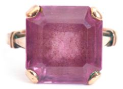 Antique amethyst ring, the square stepped cut amethyst 12mm square, claw set in each corner and