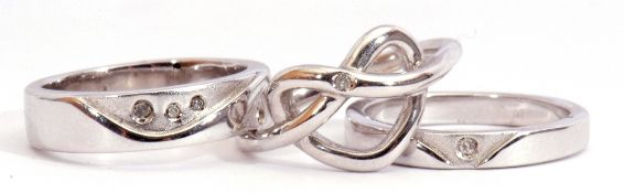 Three white metal and diamond set rings each stamped 925 and highlighted with small single cut