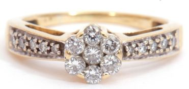 Diamond cluster ring, a design featuring a brilliant cut diamond cluster, raised above diamond set