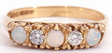 18ct gold opal and diamond five stone ring, alternate set with three round cabochon opals and two