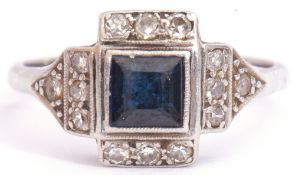 Art Deco sapphire and diamond ring, centring a square cut sapphire framed by a small diamond set