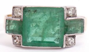 Vintage emerald and diamond set ring, the square emerald 8mm x 8mm between small rectangular cut
