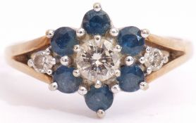Sapphire and diamond cluster ring, the central brilliant cut diamond 0.25ct approx, surrounded by