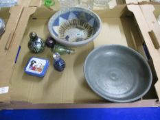 TWO ART POTTERY BOWLS, A LOETZ STYLE PERFUME GLASS AND STOPPER BY ISLE OF WIGHT GLASS AND OTHER ISLE