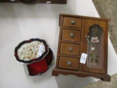 TWO SMALL WOODEN JEWELLERY BOXES