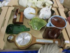 TRAY CONTAINING QUANTITY OF CERAMICS AND SMALL BAROMETER IN WOODEN CASE