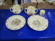 ROYAL DOULTON BUNNIKINS WARES INCLUDING TWO MUGS WITH LOOP HANDLES, A BOWL AND EGG CUP