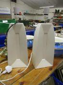 PAIR OF ANGULAR WHITE CERAMIC LAMPS