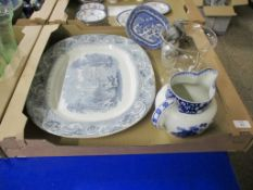 TRAY CONTAINING CERAMICS INCLUDING LARGE SERVING PLATTER AND A BLUE AND WHITE JUG