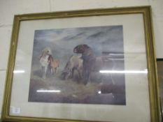 PRINT OF HORSES IN A LANDSCAPE