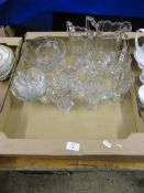 QUANTITY OF GLASS WARES, MAINLY MOULDED JUGS