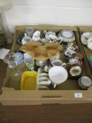 CERAMIC WARES INCLUDING TEA WARES AND SOME GLASS WARES AND SMALL CIRCULAR WEDGWOOD BOX AND COVER