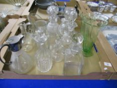 TRAY CONTAINING CUT GLASS CHANDELIERS TOGETHER WITH JUG WITH HUKIN & HEATH PLATED MOUNT