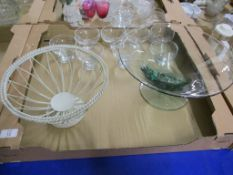 GLASS WARES AND A METAL BASKET
