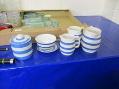 KITCHEN POTTERY WARES BY T G GREEN IN BLUE AND WHITE STRIPE