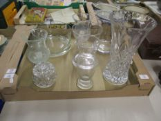 TRAY CONTAINING CUT GLASS AND CERAMIC ITEMS INCLUDING VASES AND BOWLS