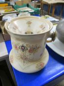 LATE 19TH CENTURY CERAMIC PAIL AND COVER BY CROWN DEVON, THE PAIL WITH WICKER HANDLE