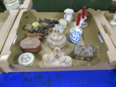 TRAY CONTAINING CERAMICS INCLUDING A SATSUMA STYLE KORO AND COVER, THE FINIAL MODELLED AS A JAPANESE