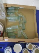 TWO TRAYS OF GLASS BOTTLES AND ASSORTED CERAMIC ITEMS