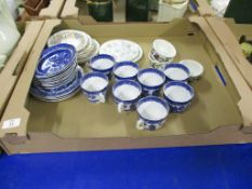 TRAY CONTAINING CERAMICS, MAINLY BLUE AND WHITE WARES BY CLIFTON CHINA